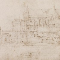 Westminster Abbey and the Parliament House from the Thames, unknown artist. Pen on paper, 1515-1532. © The Victoria & Albert Museum, London, E,128-1924.