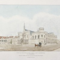 View of Westminster Hall, Law Courts &c From the North West. Coloured lithograph by Samuel Burton after C. Russell. © Parliamentary Art Collection, WOA 1420