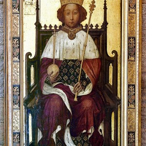 Portrait of Richard II enthroned, made for Westminster Abbey, c.1395. Oil on panel, 213.5 by 110 cm. © Dean and Chapter of Westminster