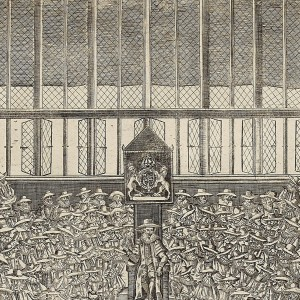 Detail of Apostle statues on either side of the east window, from 'Platform of the Lower House of this Present Parliament', by an unknown engraver, 1640. Engraving, 42.5 × 33.2 cm. British Museum, London. BM 1885, 1114.124.1-3. © Trustees of the British Museum.