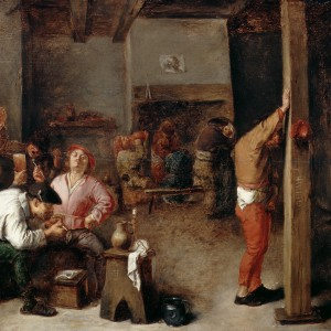 'Interior of a Tavern', by Adriaen Brouwer, c.1630. Oil on panel, 32.4 × 43.2 cm. Dulwich Picture Gallery, London, accession no. 108. Public domain.