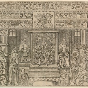 'King James I opening the Parliament of 1624 in the House of Lords', by Renold Elstrack, 1624. Engraving, 55.7 × 78.4 cm. British Museum, London, BM 1845, 0507.16. © Trustees of the British Museum