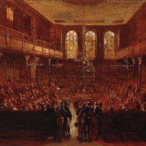 Preliminary sketch for 'The First Reformed House of Commons, 1833', by Sir George Hayter, 1833. Oil on paper. Parliamentary Art Collection, Palace of Westminster, WOA 363. © Parliamentary Art Collection.