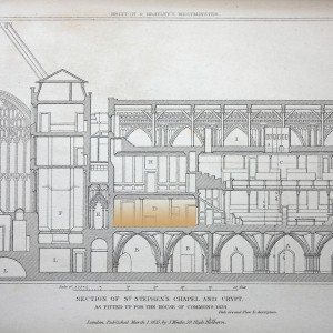 'Section of St Stephen's Chapel and Crypt, as Fitted up for the House of Commons, 1834', in E. W. Brayley and J. Britton, <em>The History of the Ancient Palace and late Houses of Parliament at Westminster</em>, London, 1836, pl. XXV.