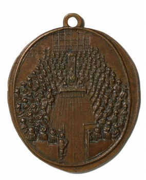 Commemorative Medal of the Battle of Dunbar, by Thomas Simon, 1650. Metal, 24×22mm. © The Trustees of the British Museum, London, MB1 P391.13.