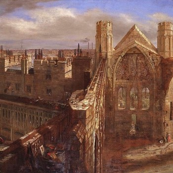 Panorama of the Ruins of the Old Palace of Westminster, 1834, by George Scharf. © Palace of Westminster Collection (WOA 3793) http://www.parliament.uk/art